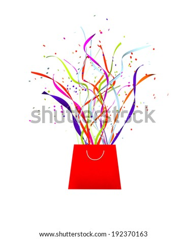 surprise celebration or gift concept isolated on a white background - stock photo