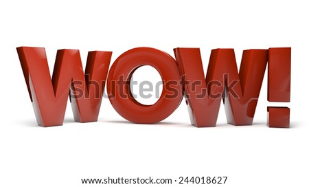 surprise concept: render of the text wow isolated on white background - stock photo