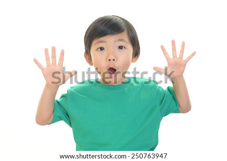 Surprised Asian boy - stock photo