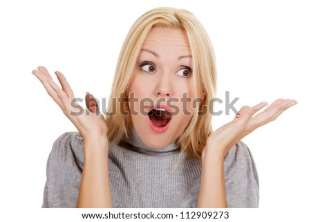 surprised beautiful girl, white background - stock photo
