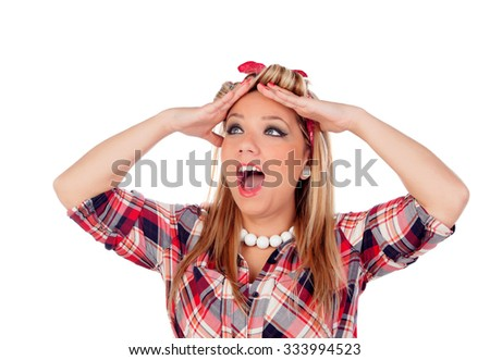 Surprised blonde girl with blue eyes in pinup style isolated on a white background - stock photo