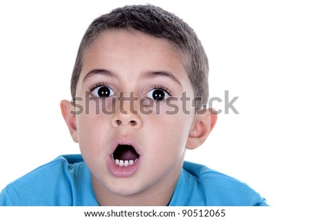Surprised boy isolated on white background - stock photo