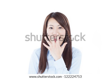 surprised business woman isolated on white background - stock photo