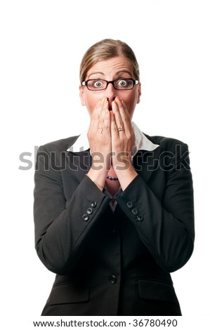Surprised business woman on white background - stock photo