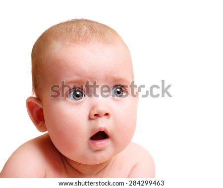 Surprised child isolated - stock photo