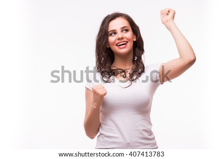 Surprised excited happy screaming woman isolated. Cheerful girl winner shocked over winning with funny joyful face expression. - stock photo