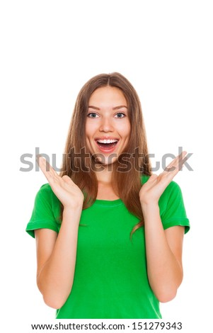 surprised excited smile woman hold hands, young girl wear green shirt isolated over white background - stock photo