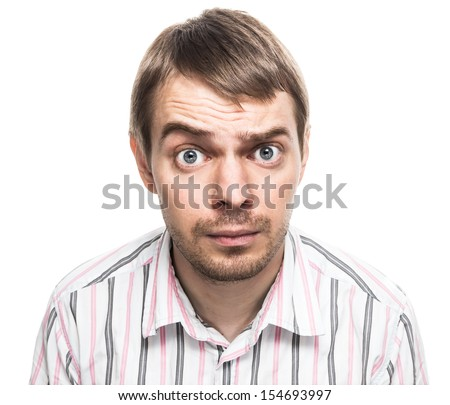 Surprised face. - stock photo