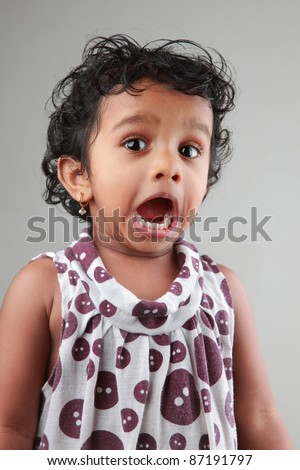 Surprised face of a little girl - stock photo