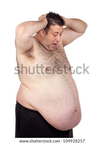 Surprised fat man isolated on white background - stock photo