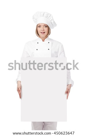 surprised female chef, cook or baker holding blank board with empty copy space for you text isolated on white background. advertisement banner. your text here - stock photo