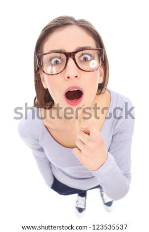 Surprised female nerd - stock photo