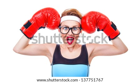 Surprised fitness woman with boxing gloves, isolated on white - stock photo