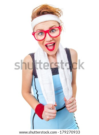 Surprised funny fitness woman ready for gym, isolated on white background - stock photo