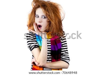 Surprised girl. Studio shot. - stock photo