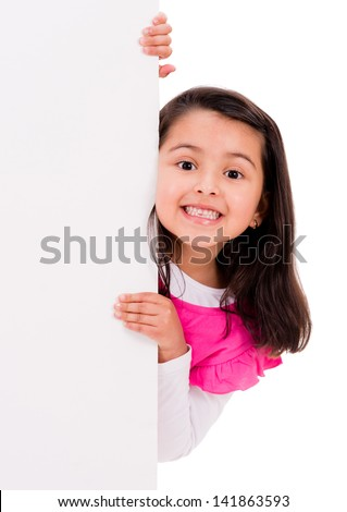 Surprised girl with a banner - isolated over a white background - stock photo