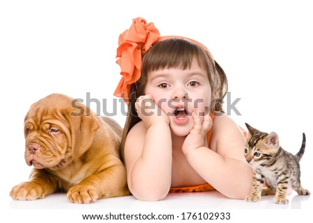 Surprised girl with cat and dog. isolated on white background - stock photo