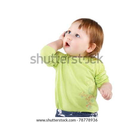 surprised little girl with phone isolated - stock photo