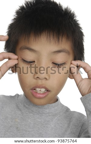 Surprised little kid covering his eyes on white background - stock photo