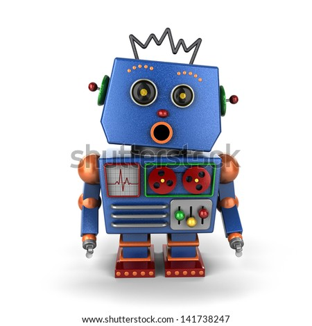 Surprised looking vintage toy robot over white background - stock photo