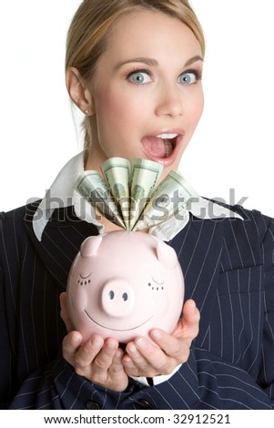 Surprised Piggy Bank Woman - stock photo