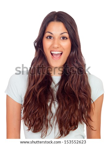 Surprised pretty girl isolated on a white background - stock photo