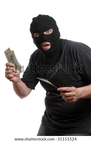 Surprised robber takes money from stolen wallet. Isolated over white. - stock photo