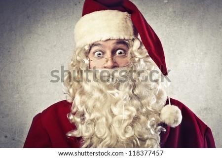 Surprised Santa Claus - stock photo