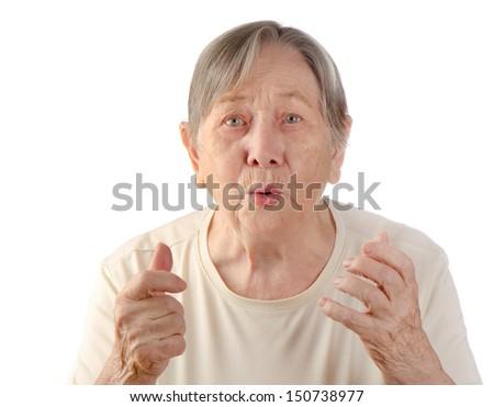 Surprised senior woman's portrait isolated on white background  - stock photo