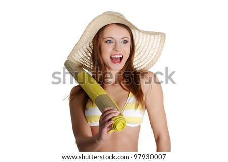 Surprised summer woman in bikini isolated in studio. - stock photo
