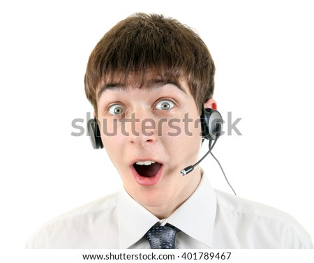 Surprised Teenager with Headset Isolated on the White Background - stock photo