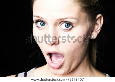 surprised woman - stock photo