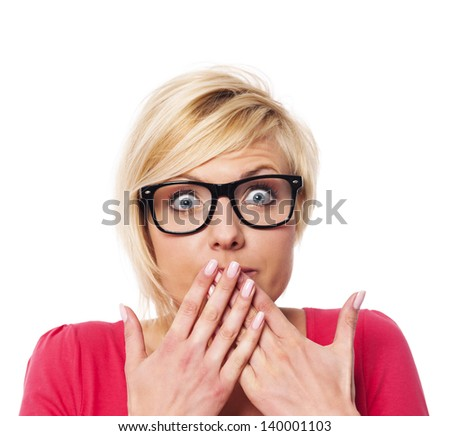 Surprised woman covering with hands her mouth  - stock photo
