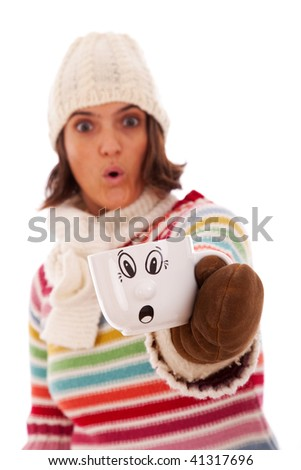 Surprised woman like her hot drink cup (isolated on white) - stock photo