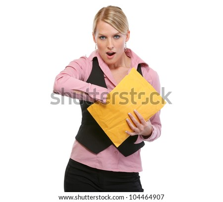 Surprised woman opening package - stock photo