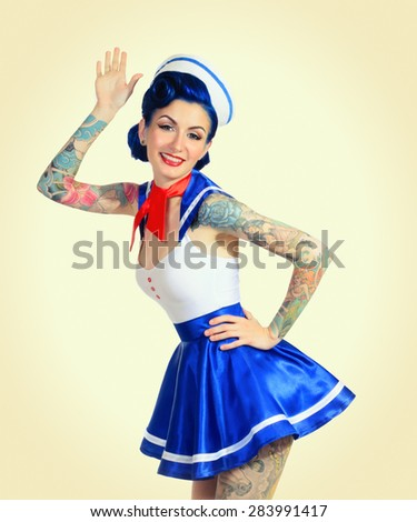 Surprised woman showing open hand retro style - stock photo