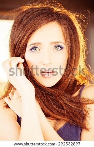 Surprised Woman. Summer Fashion Portrait - stock photo