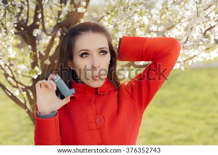 Surprised  Woman with Inhaler  in Spring Blooming Decor - Portrait of a woman having respiratory problems from allergies surrounded by seasonal flowers   - stock photo