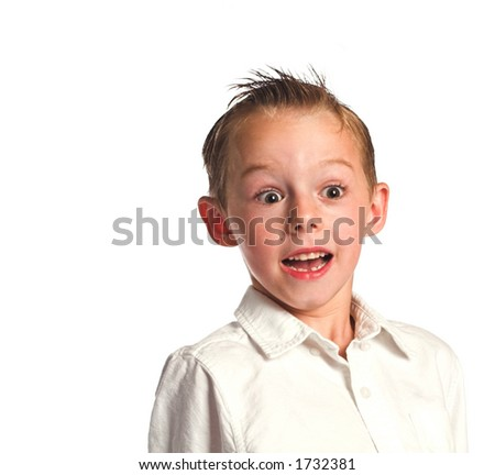 Surprised young boy - stock photo