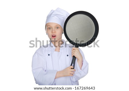 Surprised young chef with a pan isolated on white - stock photo