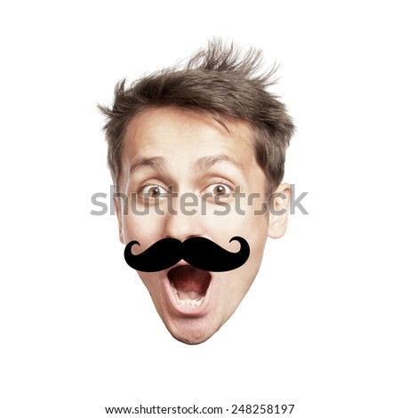 Surprised young man's head with large false mustache like a hipster, isolated - stock photo