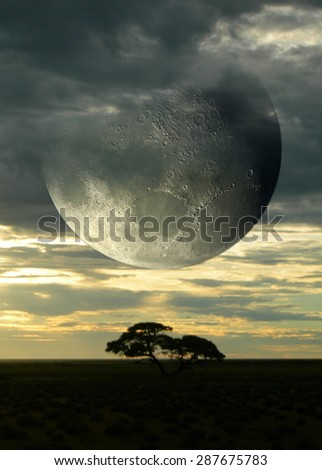Surreal composition with sunset on the savanna and a giant moon piercing a cloudy sky, for science fiction or fantasy backgrounds. Elements of this image were furnished by NASA. - stock photo