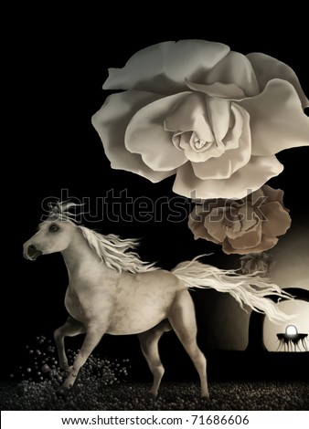 surreal digital painting of a white horse running under wilting white roses in a symbolic representation of time - stock photo