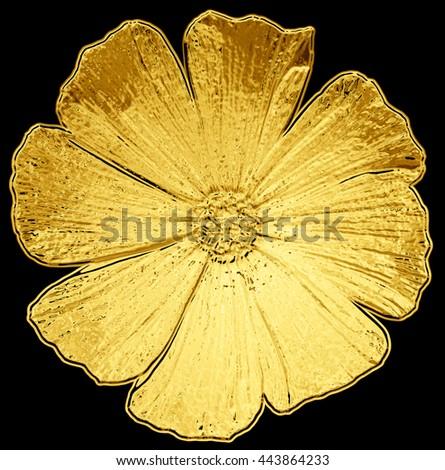 Surreal golden metal chrome flower dahlia macro isolated on black - stock photo