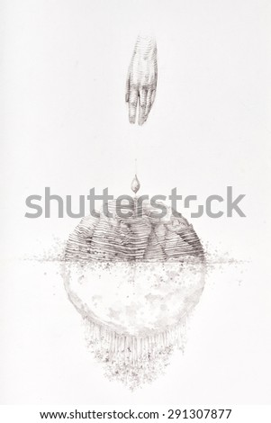 Surreal hand drawing, decorative artwork   - stock photo