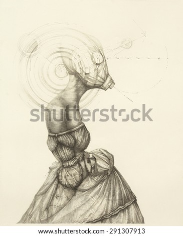 Surreal hand drawing, lady in a dress decorative artwork   - stock photo
