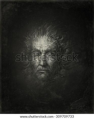 Surreal head - stock photo