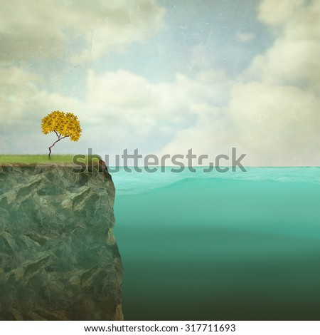 Surreal illustration of a small tree perched atop the offshore rock - stock photo