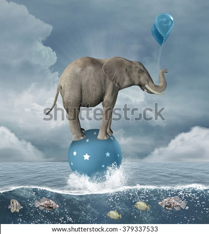 Surreal illustration with elephant in the middle of the sea - stock photo
