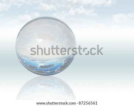 Surreal Landscape with crystal sphere - stock photo